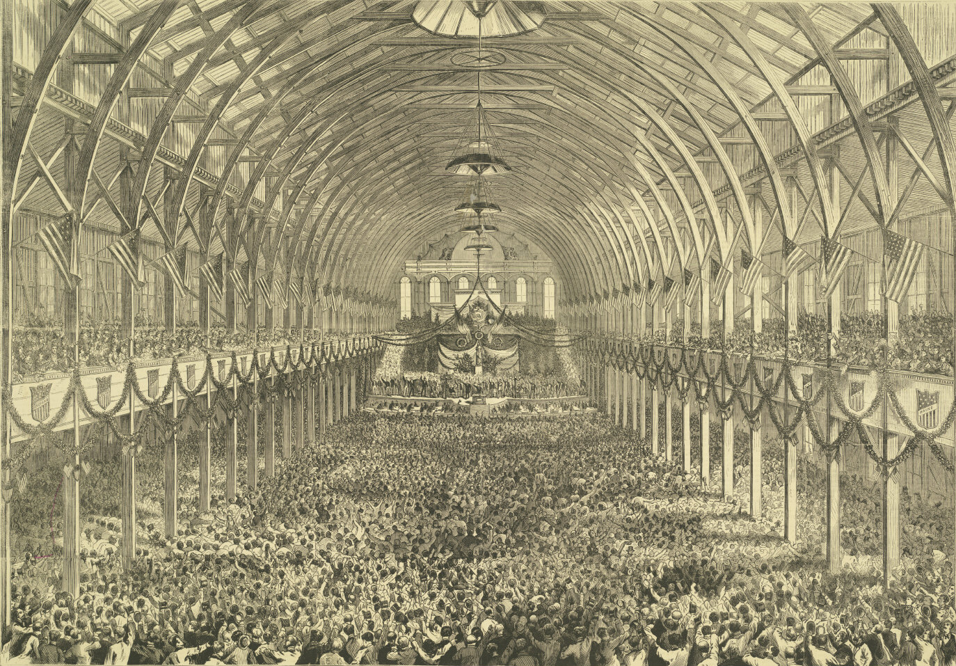 1872 Liberal Republican National Convention. This is the interior of Exposition Hall, decorated with state shields and evergreen garland on galleries