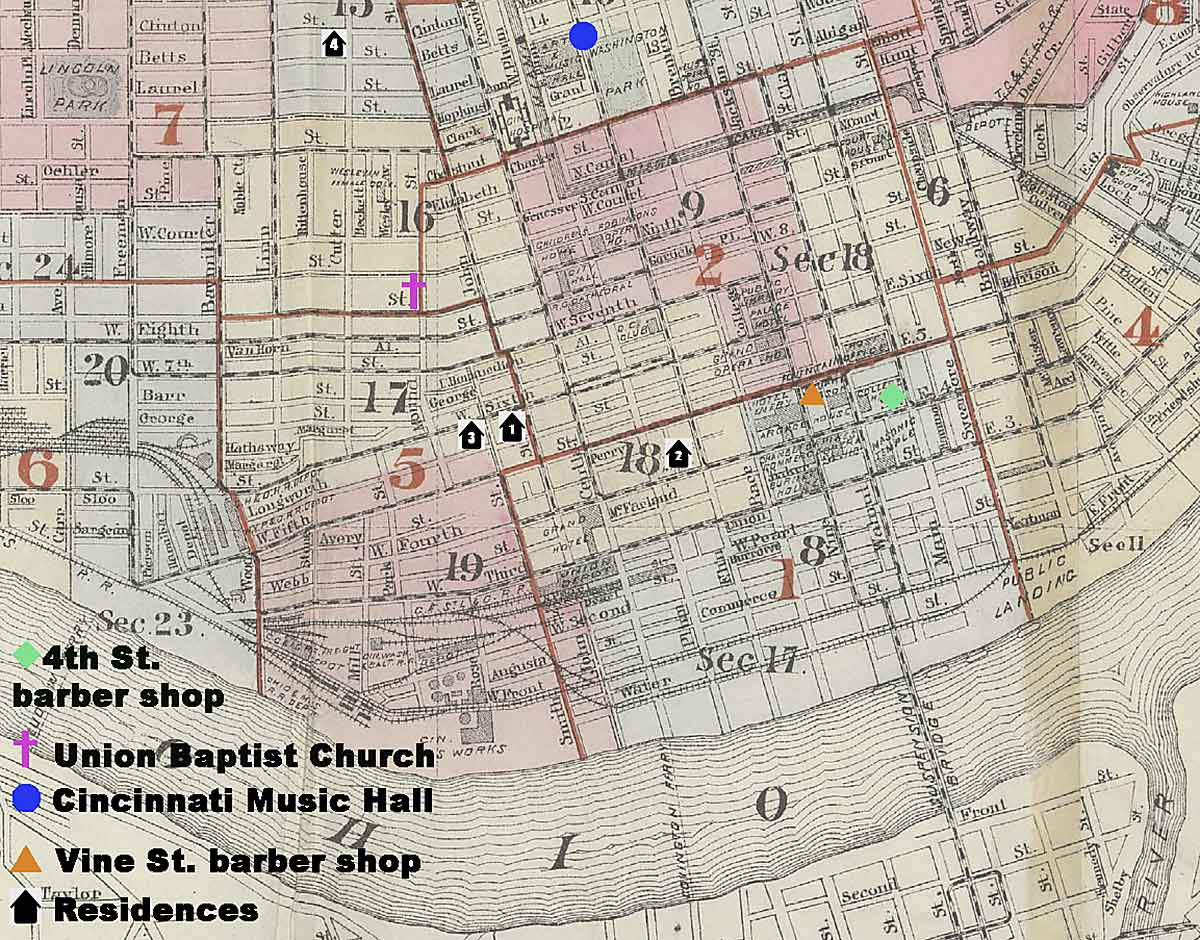 7-map showing Fountain Lewis's residences, barbershops, Union Baptist Church