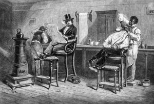 "8 ""An American Barber's, Richmond, VA,"" by Eyre Crowe, Thackery in America, 1853"