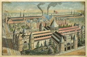 10-1888 Centennial Exposition, Park Hall in Washington Park, Machinery Hall over Miami and ERie Canal by H. W. Weisbrodt