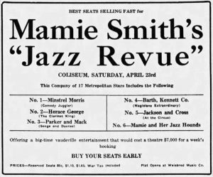 "Advertisement for Mamie Smith's ""Jazz Review,"" Richmond, Indiana, Palladium-Item, April 4, 1921"