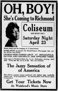 "Advertisement proclaiming ""Crowds were turned away...at Cincinnati,"" The Richmond Item, April 17, 1921, pg. 19"