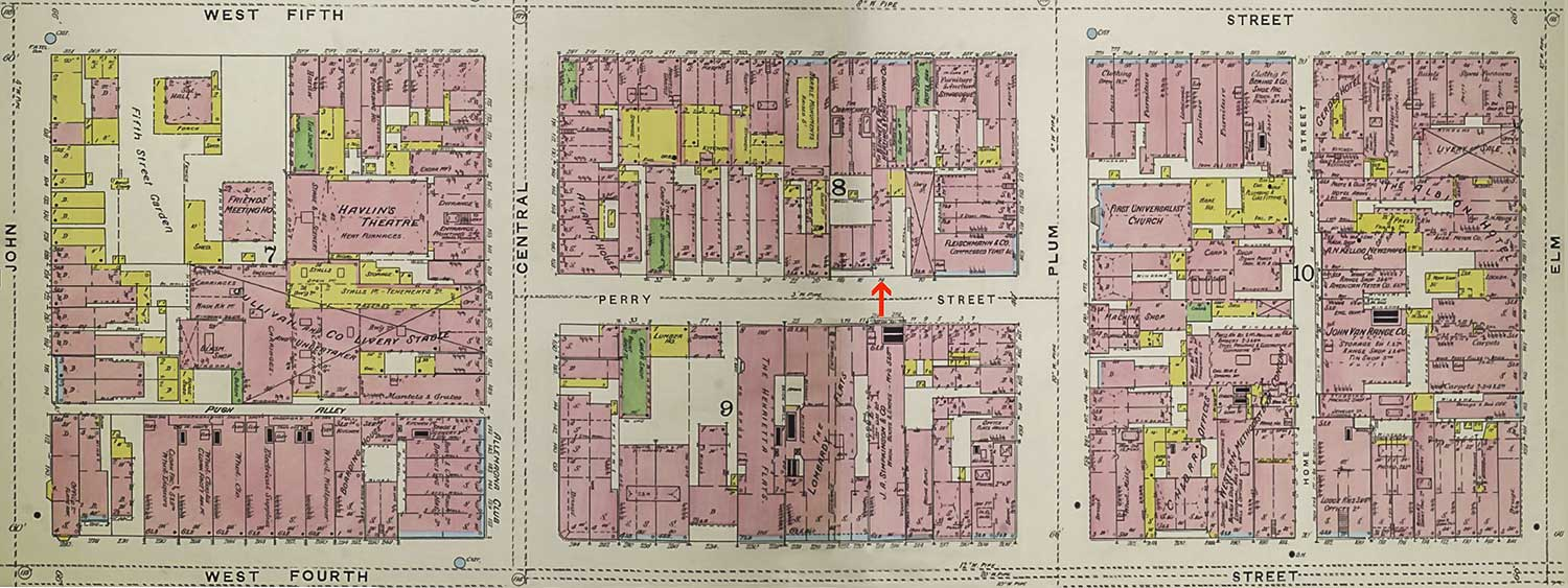 1891 Sanborn Insurance Map showing 14 Perry Street where Mamie Robinson was born