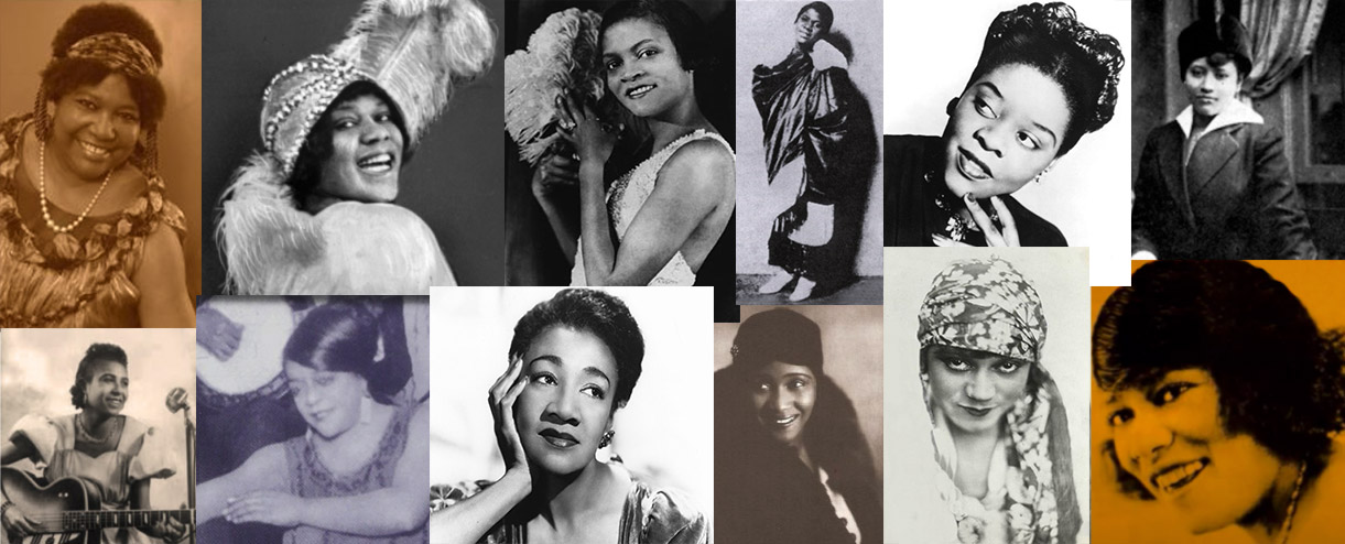 Top row L-to-R: Ma Rainey, Bessie Smith, Florence Mills, Clara Smith, Ida Cox, Lucille Hegamin<br />Bottom row L-to-R: Trixie Smith, Mary Stafford, Alberta Hunter, Victoria Spivey, Gertrude Saunders, Rosa Henderson