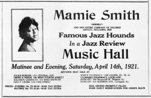 Advertisement for Mamie Smith and her Jazz Hounds, Cincinnati Music Hall, in The Union, April 16, 1921