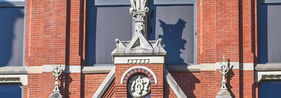 Three of the finials to be restored on the Elm Street facade of Cincinnati Music Hall