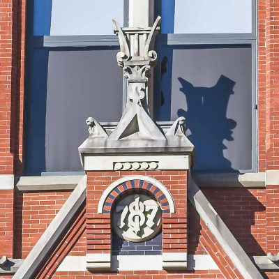 Three of the finials to be restored on the Elm Street facade of Cincinnati Music Hall