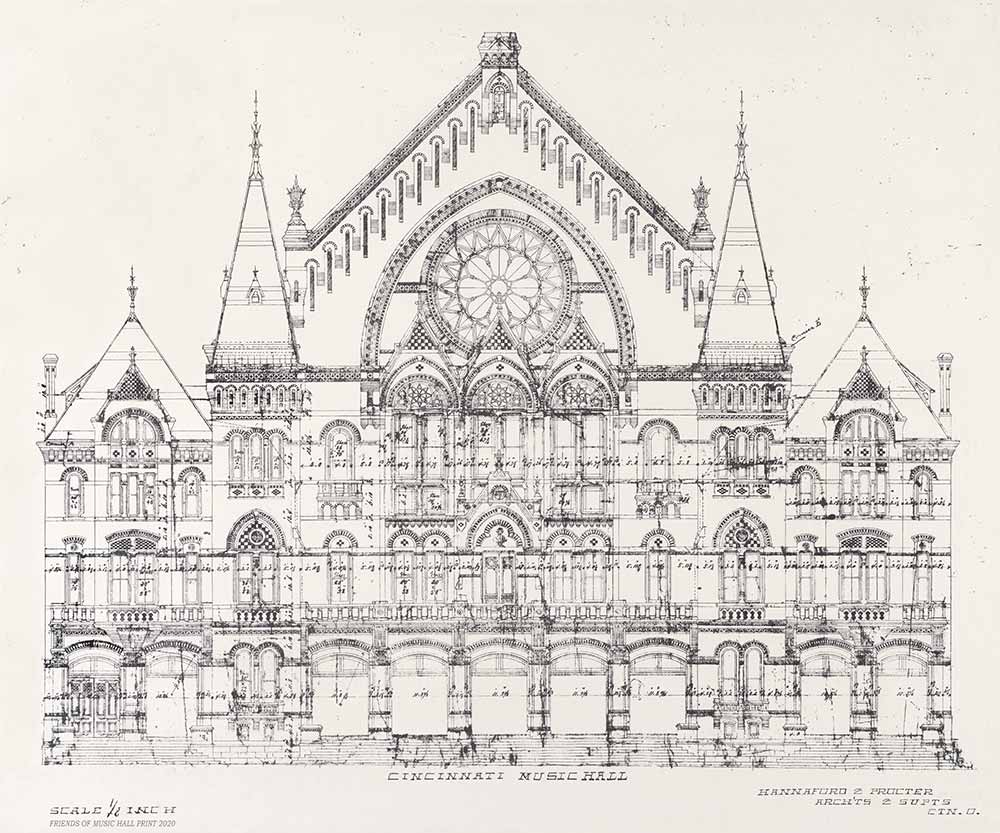 Music Hall Main Hall Elm Street facade architectural drawing