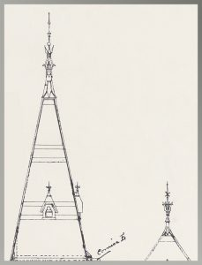 Two gables from Hannaford's drawing of Music Hall