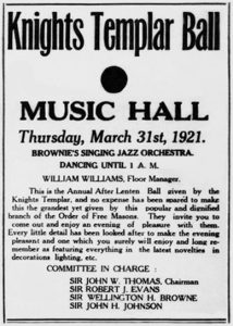 Knights Templar Ball Ad, <em>The Union</em>, March 3, 1921