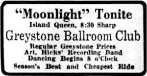 Greystone Ballroom Club, Island Queen Ad, Cincinnati Enquirer, April 8, 1929