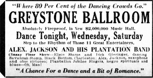 Alex. Jackson and His Plantation Band Ad, Cincinnati Enquirer, February 26, 1928