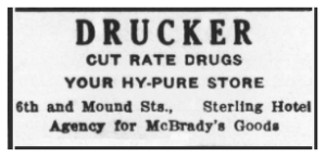 Drucker's Drug Store, Sterling Hotel Ad, The Union, December 26, 1935