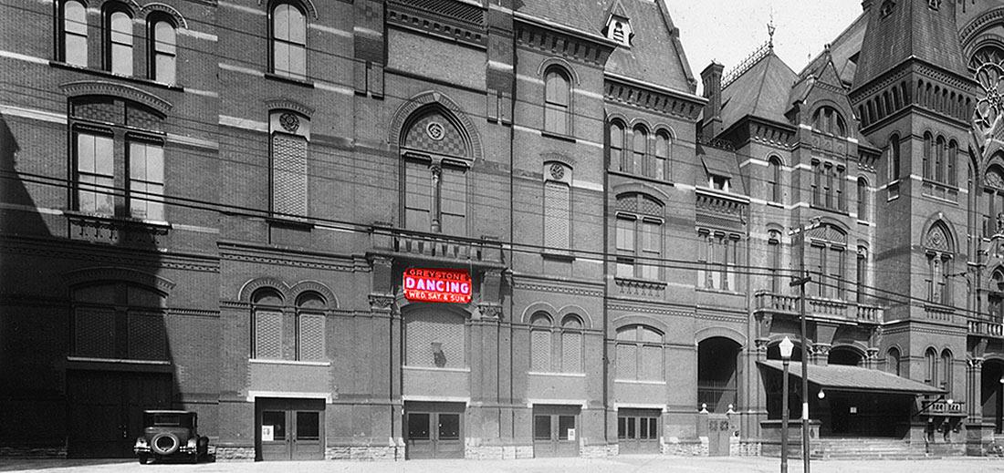 Red Greystone Ballroom-Dancing sign on east facade Cincinnati Music Hall