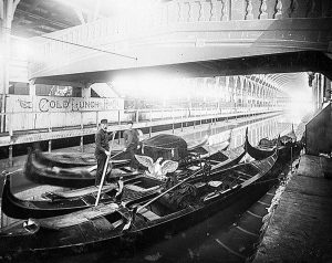 Gondolas on the canal at the 1888 Centennial Exposition