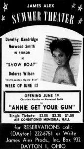 Ad for Show Boat, Dorothy Dandridge, Week of June 12, Memorial Hall, Dayton Daily News, 6-11-1962