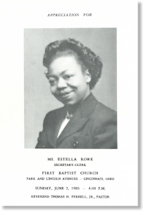 "Cover ""Appreciation of Estella Rowe"" Concert Program, Courtesy Donald Hurd"