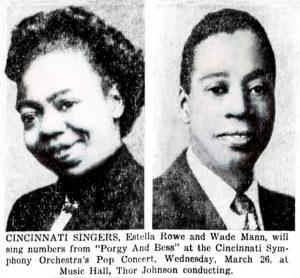 "Estella Rowe and Wade Mann, ""Cincinnati Singers,"" Cincinnati Enquirer 3/18/1952"