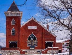 First Baptist Church, Walnut Hills, 2926 Park Ave., at the corner of Lincoln Ave.