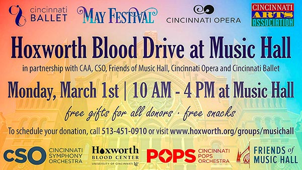 Hoxworth Blood Drive at Cincinnati Music Hall, Monday March 1, 2021
