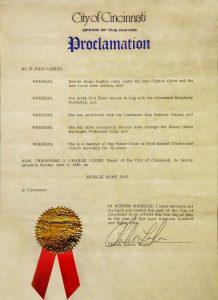 Proclamation by Mayor Luken for Estella Rowe Day, June 2, 1985
