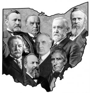 Presidents from Ohio. Clockwise from top left: Grant, McKinley, B. Harrison, Hayes, W. Harrison, Garfield. Taft; center: Harding