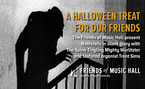 Silent Movies Made Musical with the Mighty Wurlitzer returns with a virtual screening of Nosferatu featuring Trent Sims at the keyboard