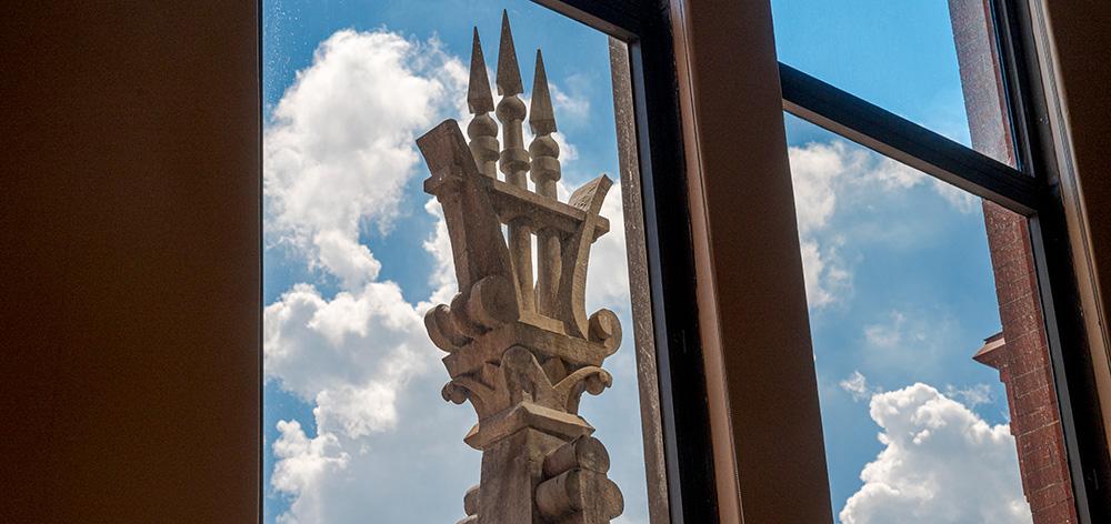 Cincinnati Music Hall - restored spikes on the lyre, as seen from inside Corbett Tower
