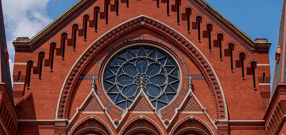 Cincinnati Music Hall's rose window, with the left restored finial