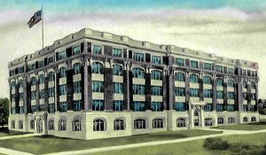 Lithograph of the Old Woodward School building in Cincinnati, Ohio constructed in 1907.