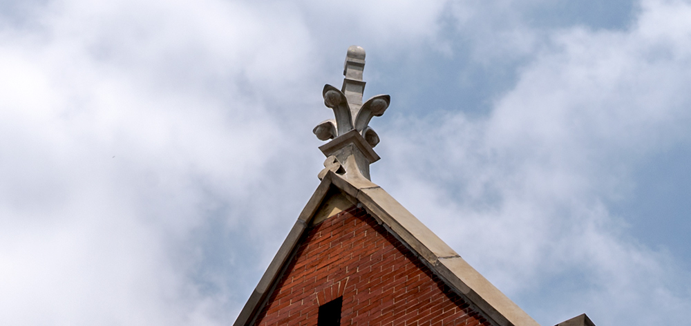 The first restored finial, seen on the southern-most gable of the south wing of Cincinnati Music Hall on June 24, 2021
