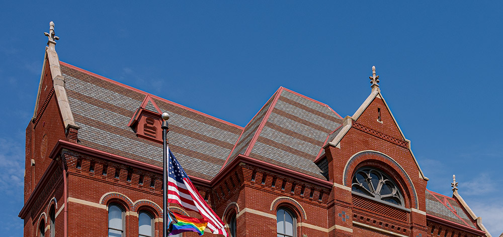 Three restored finials can be seen on the gables of the south wing of Cincinnati Music Hall