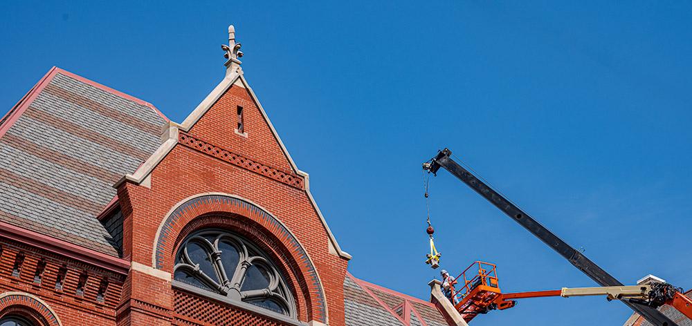 Restored finials returned to the south wing, Elm Street side, of Cincinnati Music Hall
