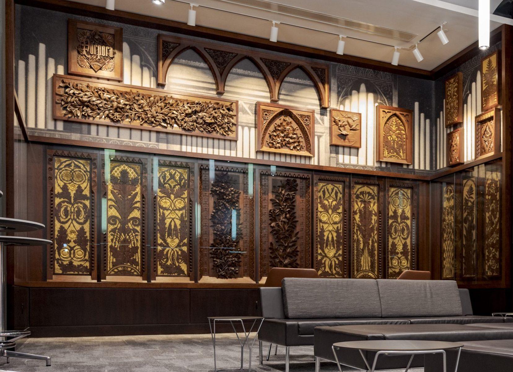 Wood Carvings on display in Taft Suite Inside Cincinnati Music Hall