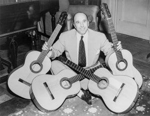 Carlos Montoya with four guitars